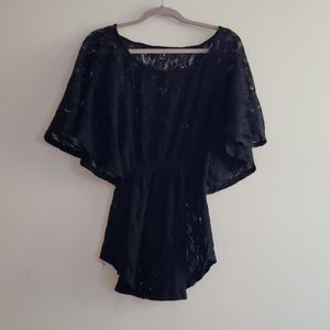 Forever 21 Lace Butterfly Sleeve Black Top